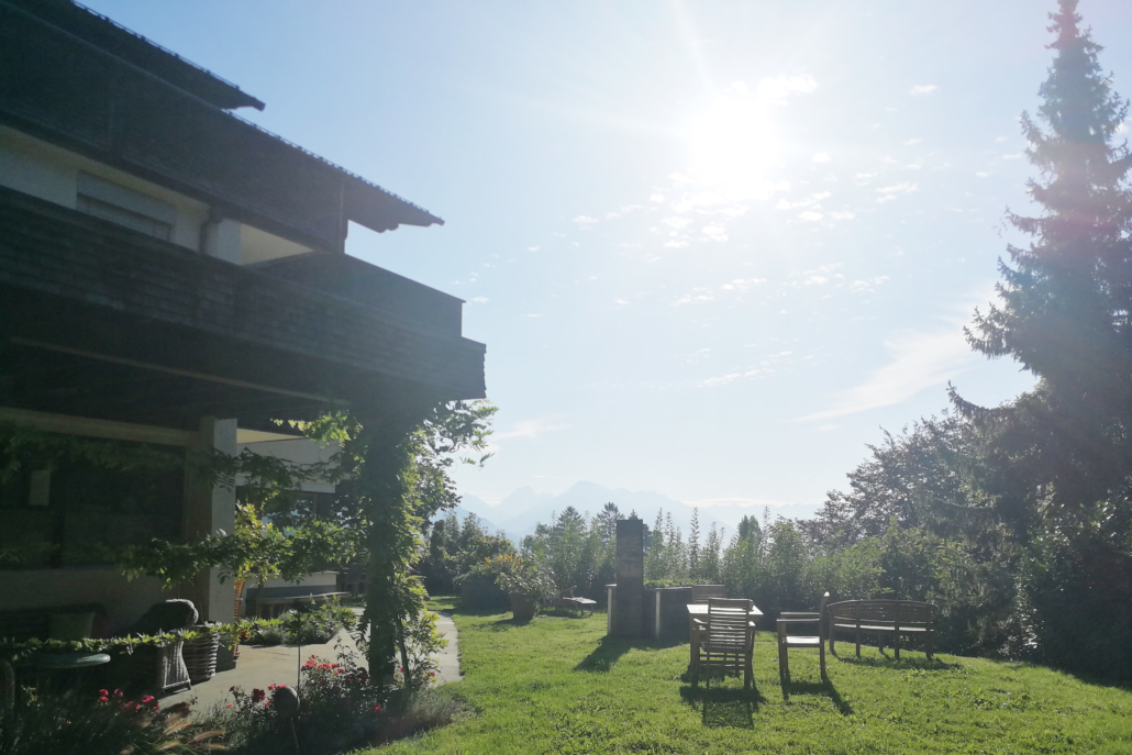 Restaurant Mizzitant. Unser traumhafter Garten mit tollem Ausblick.
